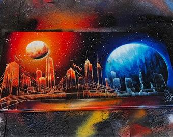 Sunset. Spray Paint Art.