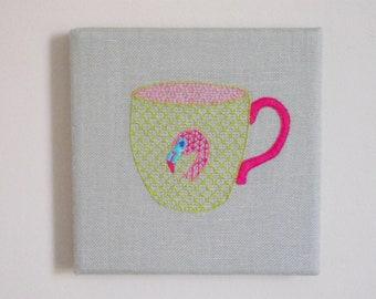 Flamingo Teacup Wall Art. Hand Embroidery.