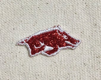 """Small Razorback Hog 1.5"""" - Glitter - Custom Colors - Iron on Applique - Embroidered Patch"""