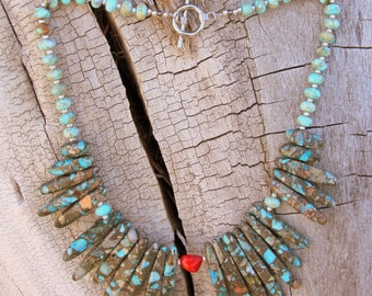 Handcrafted Serpentine Jasper Necklace With Coral Accent