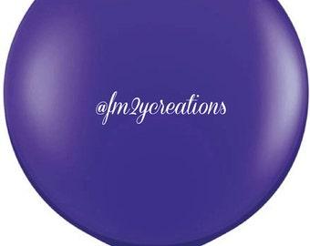 "36"" Purple Round Balloon   Purple Round Balloons   3' Round Latex Balloons   Purple Baby Shower Bridal Shower   Purple Balloon"