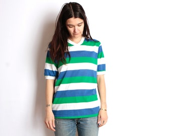 90s striped OXFORD soft SPRING v-neck GREEN blue & white t shirt top