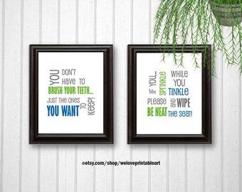 Green and Blue Kids Bathroom Art Decor Bathroom Artwork Printable Art Print Instant Download Bathroom Wall Quote Sign