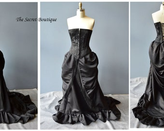 Gothic wedding gown, Victorian bustle skirt and corset made to your measurements and color choice