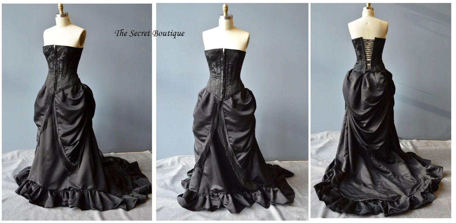Gothic wedding gown Victorian bustle skirt and corset made to
