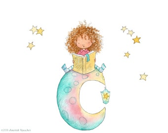 Faraway - Girl with Curly Hair Reading on Moon - Art Print