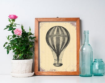 Vintage Hot Air Balloon Decor 8x10 - Wall Art, Nursery Art, Home Decor, Nursery Decor, Printable, Digital Download