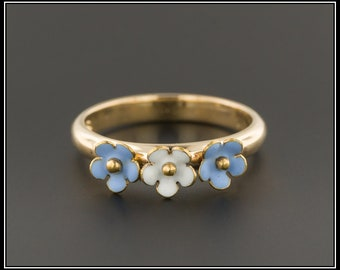 10k Gold Enamel Flower Ring | Antique Pin Conversion Ring | 10k Gold Ring | Blue and White Flower Ring