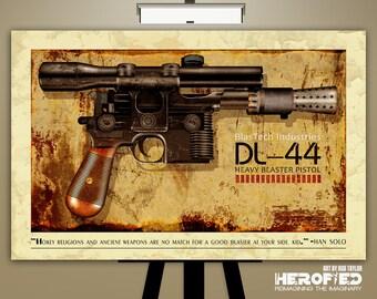 "Star Wars Inspired ""Han Solo's DL-44 Blaster: A New Hope"" 17X11 Art Print"