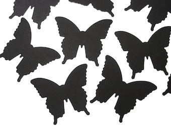 50 Medium Black Butterfly Confetti scrapbook embellishments - No549