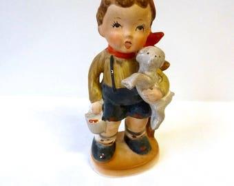 1960's Sweet Hummel Goebel Type Bisque Ware Boy Figurine, Little Goatherd Statuette, Nostalgic Little Country Boy, Kitsch Rustic Figure