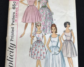 Vintage Simplicity #5344 Pattern for Misses Size 14 One-Piece Dress in Two Lengths
