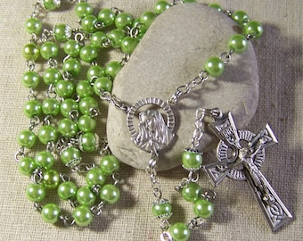handmade Catholic rosary with lime green faux pearls in silver