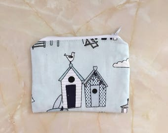 Beach hut fabric coin purse,  small purse, zip purse, stocking filler