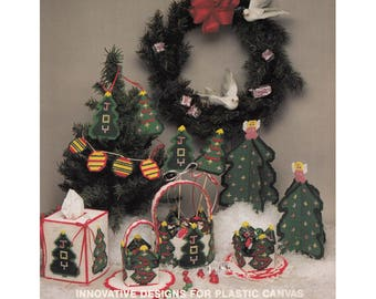 Lot of 5 Christmas Plastic Canvas Leaflets 136 DIY Gifts Homemade Winter Coasters Tree Decoration Tissue Box Cover More