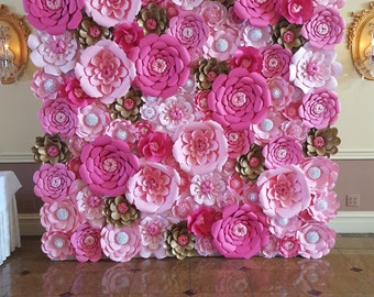 Paper florist by poshstudios on etsy pink paper flower wall 8ft x 8ft extra large paper flowers decoration photo backdrop prop mightylinksfo