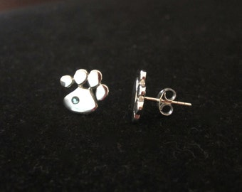Cat Dog PAW PRINT sterling silver earrings studs with Blue or Pink Swarovski crystals