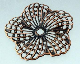 12 pièces de cuivre vieilli fini fleur d'Hibiscus en filigrane focal L:ink - 34 mm