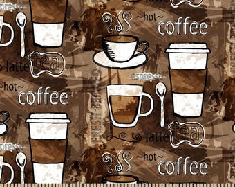 Coffee Anyone? FLANNEL Fabric by the yard and by the half yard