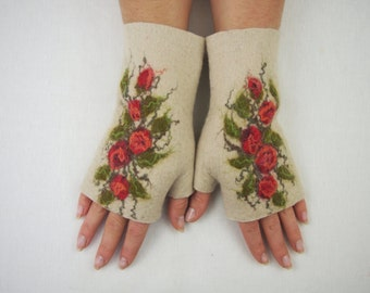Free shipping Felted Fingerless Gloves Fingerless Mittens Arm warmers Wristlets Merino Wool