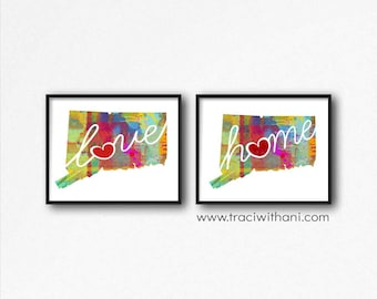 Connecticut Love & Home: Instant Digital Download Watercolor Style Wall Art Print
