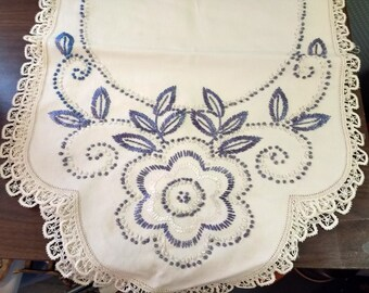 Beautiful Vintage Blue Embroidered Table Runner Dresser Scarf