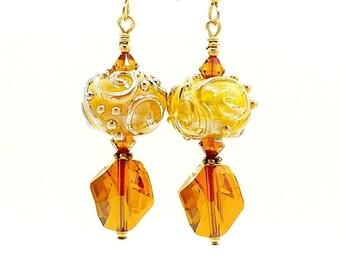 Gold Earrings, Lampwork Earrings, Glass Earrings, Glass Bead Earrings, Gold Dangle Earrings, Unique Earrings, Gold Filled Earrings