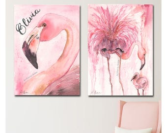 Flamingo Nursery Set Of Two Watercolor Prints, Mom & Baby Flamingo, Personalized Pink Girls Bedroom Decor, Coral Tropical Nursery Theme Gift