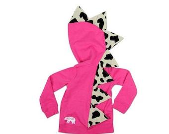 Pink girl dinosaur hoodie / dinosaur girl birthday party / pink dinosaur / baby girl dino hoodie / cute cow print shirt / dinosaur costume