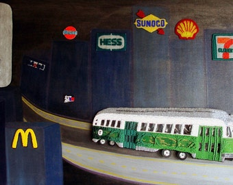 GASOLINE DISTRICT beaded Boston MBTA Green Line trolley painting 24 x 48 (s)