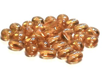 Flat Oval Glass Beads in Yellow Gold (30) 8 MM X 6 MM, Yellow Gold Glass Beads, Oval Glass Beads