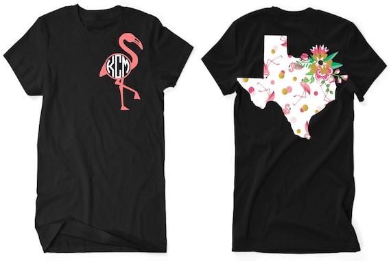 Texas Flamingo Tshirt / State Tshirt / Flamingo Tshirt / Floral Tshirt / State Floral Tshirt / Unisex Vneck Tshirt / Free Shipping 9sBJJ