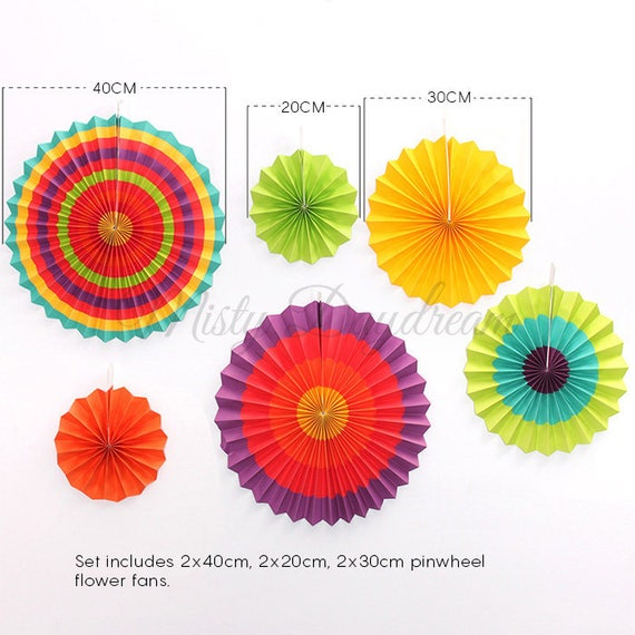 paper flower fan rainbow set of 6 backdrop rosettes paper fans paper decors party decorations wedding decorations birthday decoration from