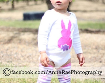 Easter Baby Bodysuit or Kids Shirt and Leg - Arm Warmer set, Girls Appliquéd Outfit - You Choose Appliqué Shape