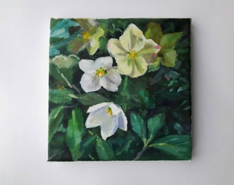 original acrylic painting, plant painting, small painting, botanical art, 6x6 painting, acrylics on canvas, small wall art