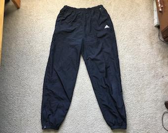 Men's Vintage 90s Adidas Black Insulated Windbreaker Jogger Sweatpants Size Large