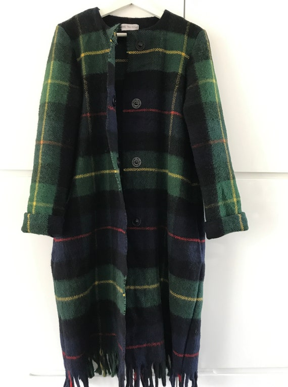 Handmade blanket coat |  Handmade wool coat | Tartan coat | Handmade coat | made of a vintage wool blanket plaid, size M