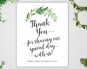 Greenery Thank You For Sharing Our Special Day Sign // Editable // INSTANT DOWNLOAD // 8x10 // Thank You // Wedding // Printable // #PBP86