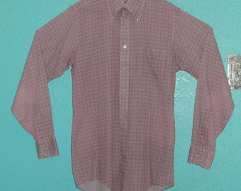 "70s Mens  LS Cotton Blend Checked Print ""Enro"" Hipster Shirt — Size Large, Extra Tall"
