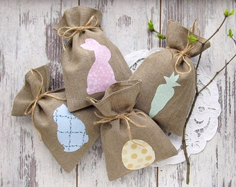 4 Personalized Easter bags, Easter gift bags, burlap candy bags, Easter treat bag, Easter rustic basket