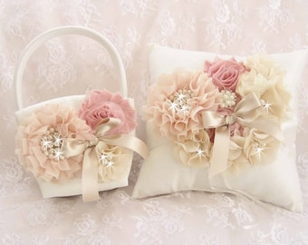 Victorian Flower Girl Basket and Pillow, Ring Bearer Pillow,Fall  Flower Girl Basket Set Wedding Pillow Vintage