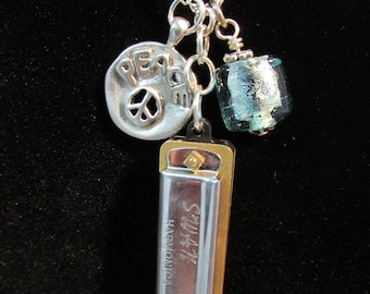 Moody Blues and Peace Harmonica Necklace