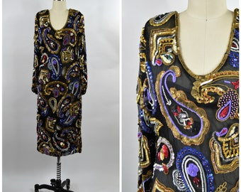 Vintage Paisley Sequin Dress Black and Gold Beaded Dress Size Small Medium Long Sleeve Evening Dress