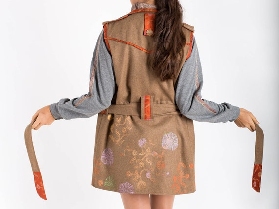 Vest For Vest Vest Clothes Camel Sleeveless Gifts With Embroidered Her Birthday Vest Warm Woolen Brown Pockets Vest Hippie Womens wXqx1BBS