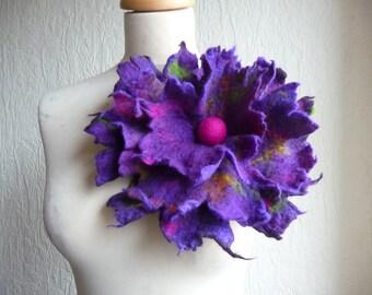 Gefilzte Blume Corsage Brosche, Handarbeit, Gefilzte wolle Blume, Lagenlook, handgemacht, Schal-Lila, Rosa, große, auf Bestellung