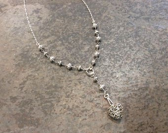 """Y Style Heart Necklace with Rosary style chain and Silver Filigree beads Silver Filigree necklace 17 1/2"""" Gift for Her"""