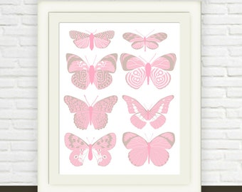 Pink and Tan Butterfly Print // Instant Download // Butterfly Nursery Art // Children's Wall Art for Baby // Modern Butterfly Illustration
