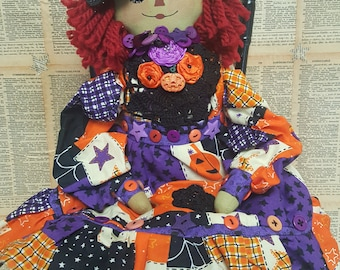 Ready to SHIP...Primitive Raggedy Annie Witch in Bright Colors, Green Face, Crooked Hat, Lots of Fun Details