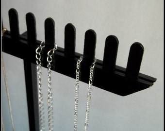Wood Long Chain Necklace Display - Black - Tall