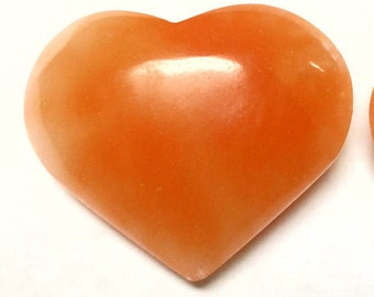 Orange Selenite Heart - Selenite Heart Worry Stone, Palm Stone, Crystal - Chakra, Reiki, Crystal Healing